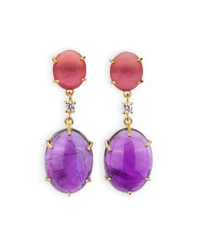 Woman earrings maxi stud light purple and silver