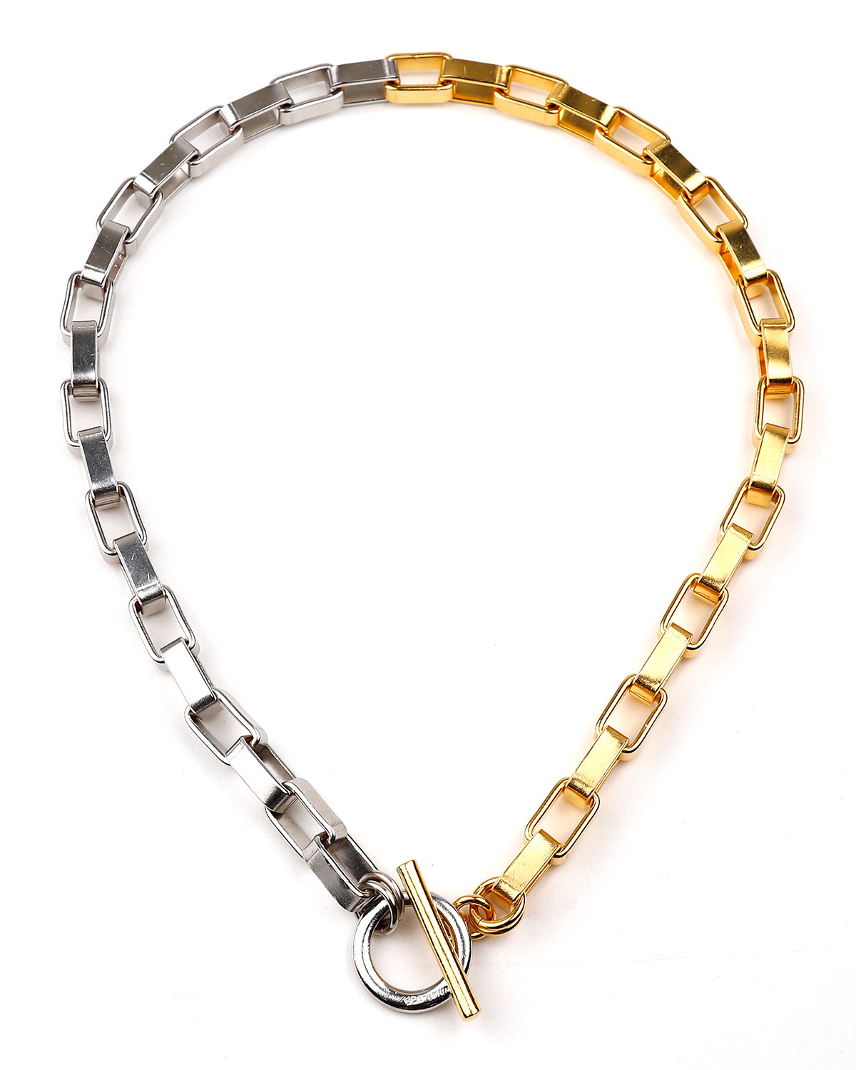 Two-Tone 3D Rectangular Link Necklace