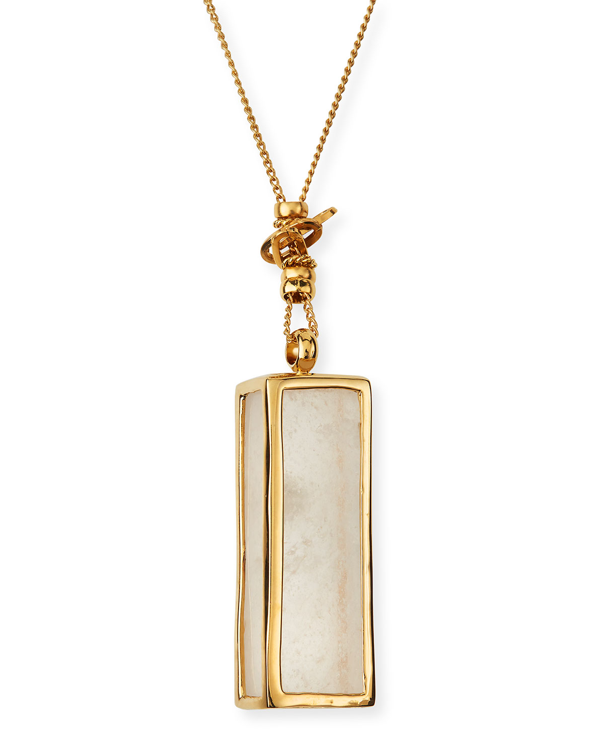 Serti Cage Crystal Long Necklace