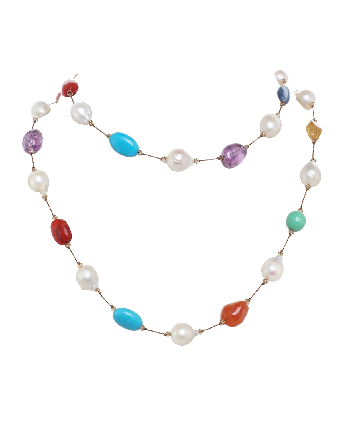 Small Multi-Stone and Baroque Pearl Necklace with Swarovski Crystal and Sterling Silver Toggle