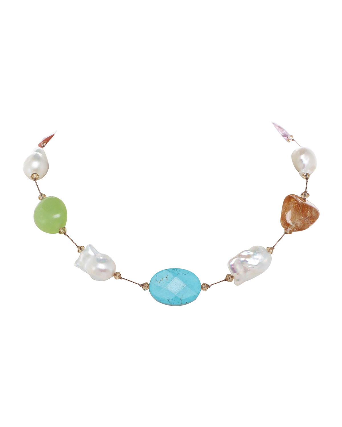 Large Multi-Stone and Baroque Pearl Necklace with Swarovski Crystal