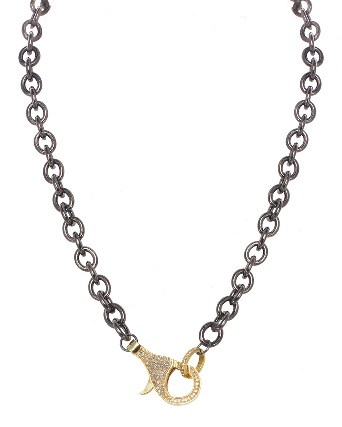 Rhodium Finish Sterling Silver Chain with Vermeil and Diamond Clasp