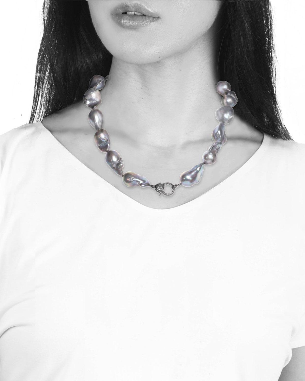 Grey Baroque Pearl Necklace with Diamond Clasp