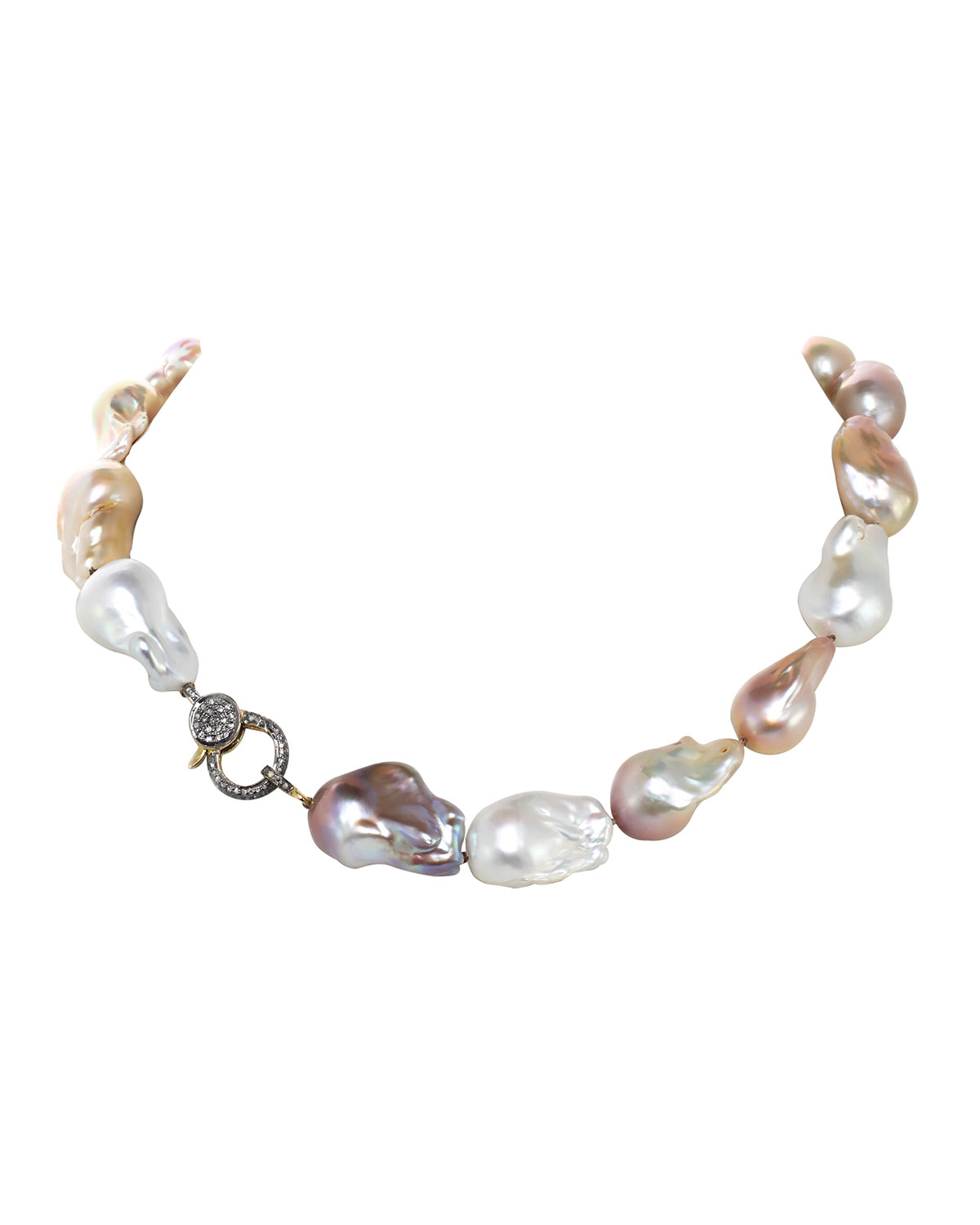 Organic Pink and Natural Baroque Pearls with Diamond Clasp