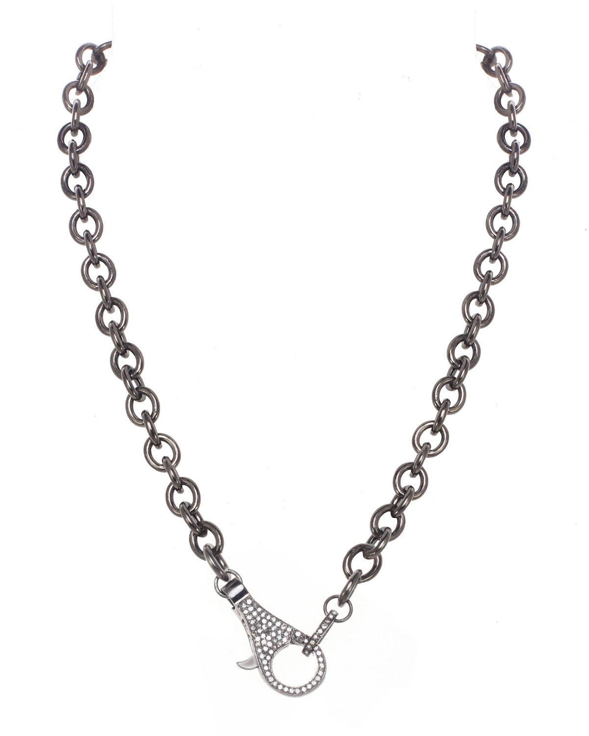 Rhodium Finish Sterling Silver Chain with Diamond Clasp