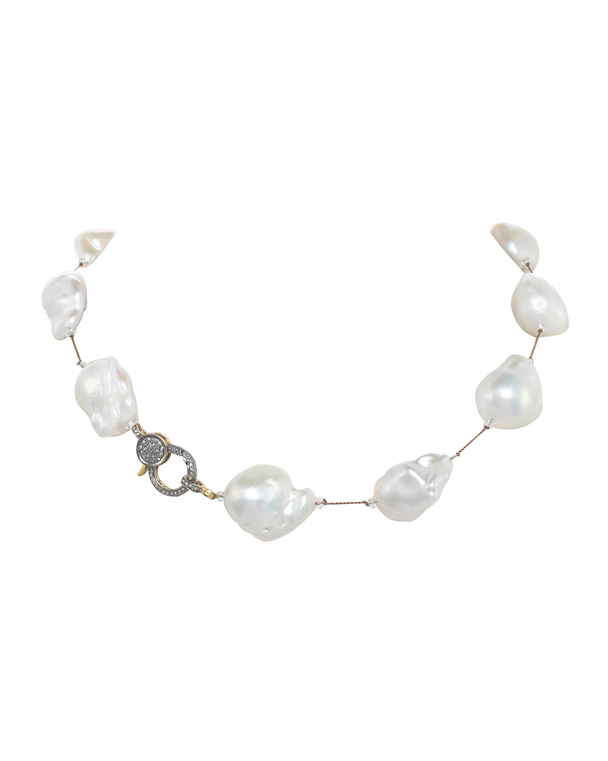 Large White Baroque Pearl Necklace with Diamond Clasp