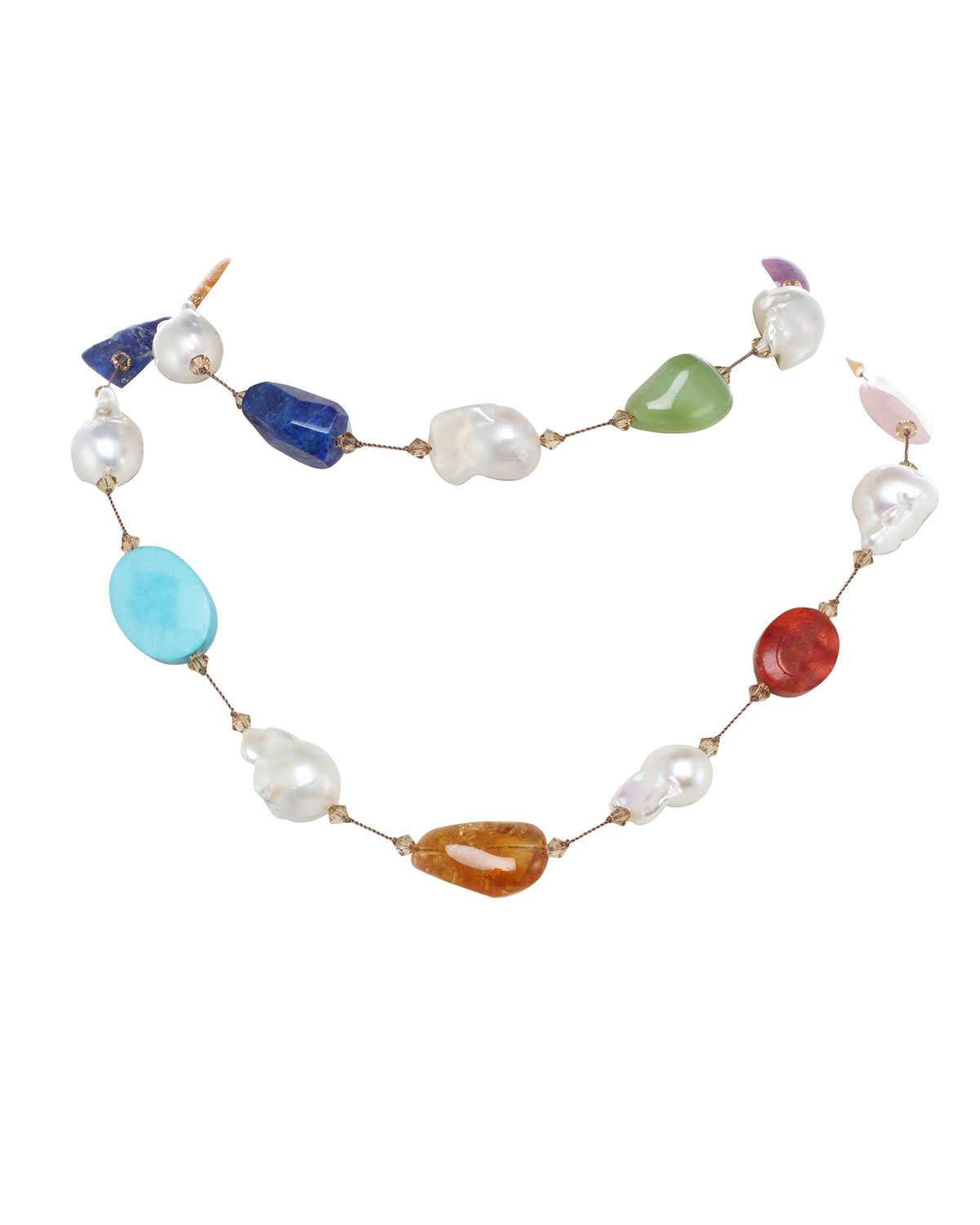 Large Multi-Stone and Baroque Pearl Necklace with Swarovski Crystal and Sterling Silver Toggle