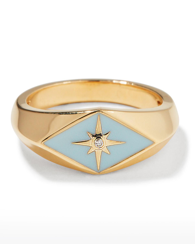 Sydney Evan ENAMEL EVIL EYE DIAMOND STARBURST RING