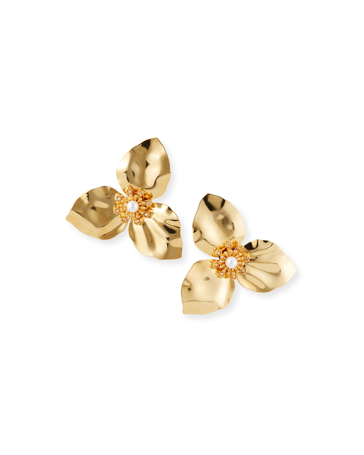Adam Lippes TRILLIUM FLOWER EARRINGS WITH PEARLS, GOLD