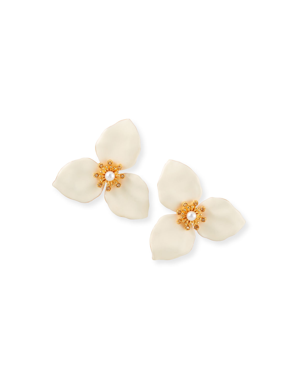 Adam Lippes TRILLIUM FLOWER EARRINGS WITH PEARLS, WHITE