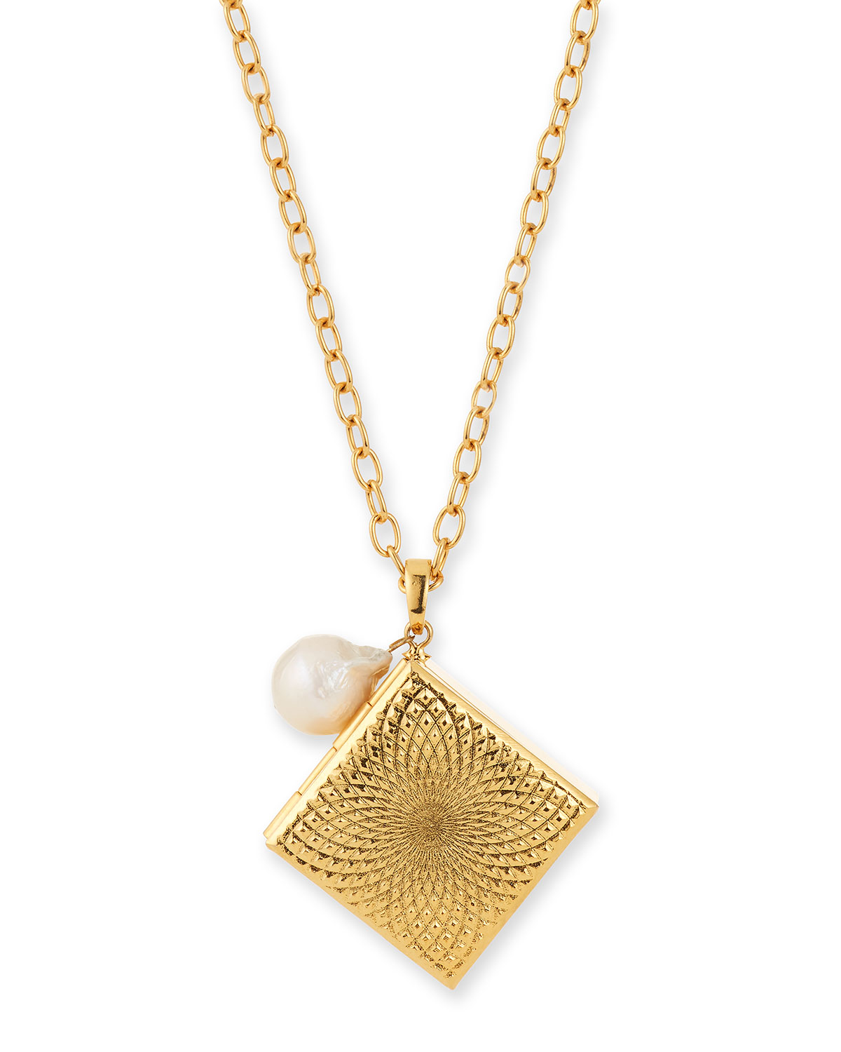 Square Pill Box and Pearl Necklace