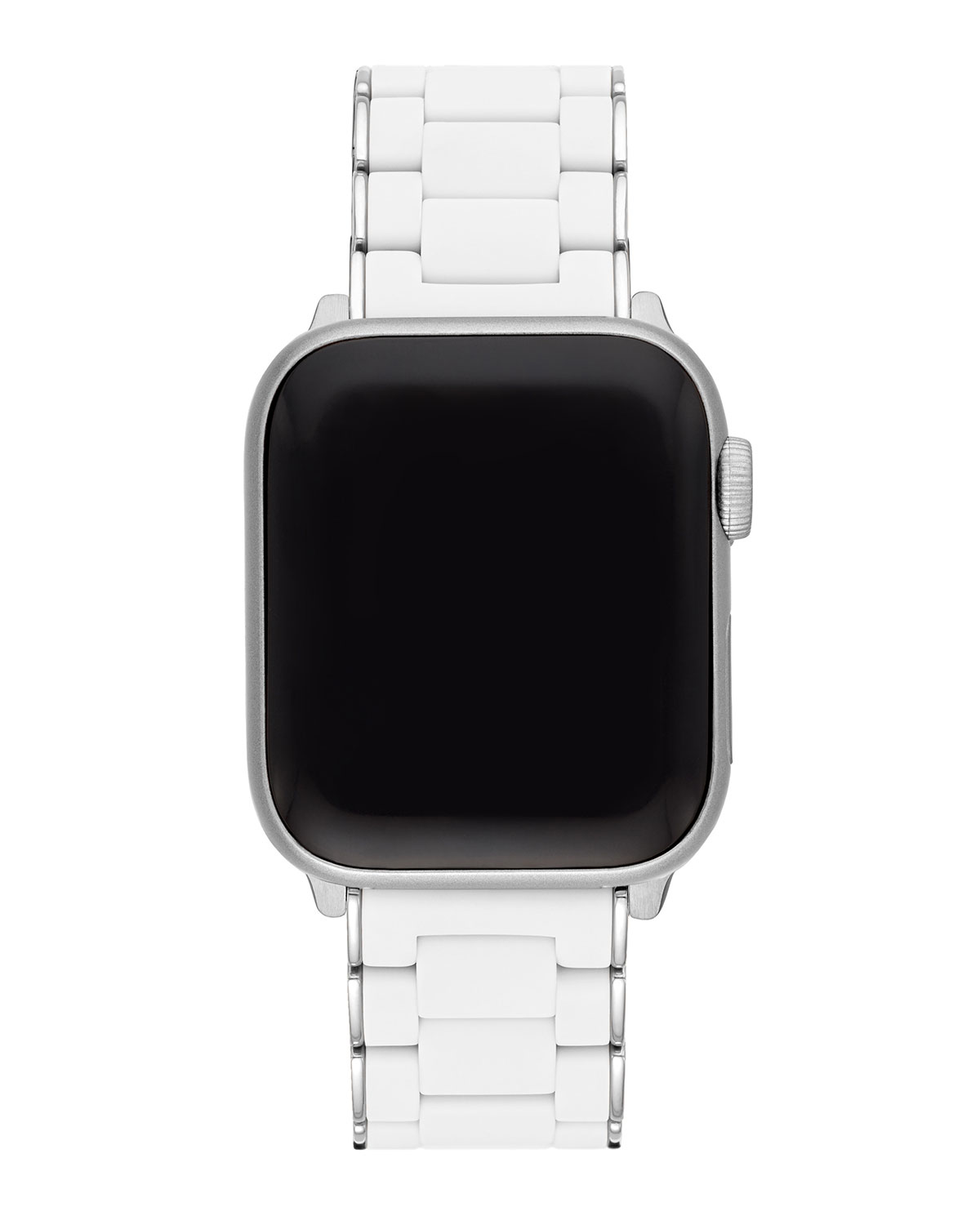 White Silicone Wrapped Stainless Steel Apple Watch Bracelet