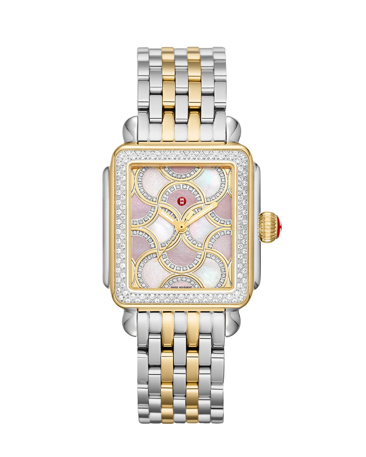 Deco Two-Tone Diamond Case with Mosaic Dial Watch