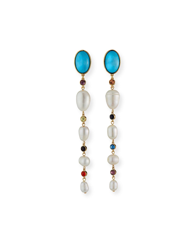 Lyford Mixed Rainbow Pearl Dangle Earrings