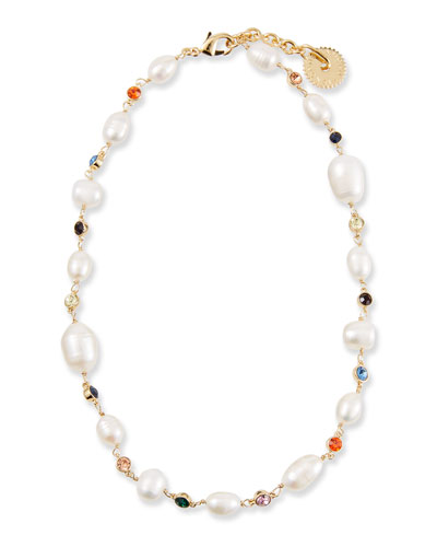 freshwater pearl necklace and wide gold-plated link