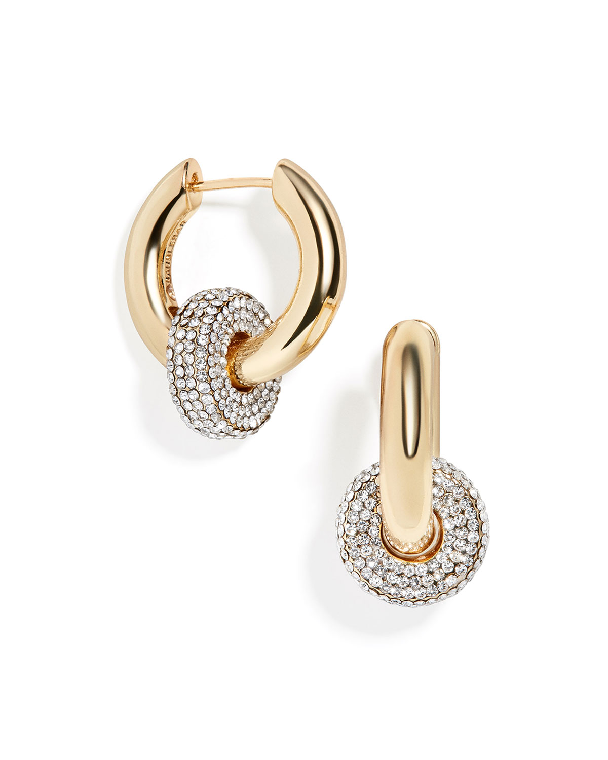Interlocking Pave and Gold Huggie Earrings