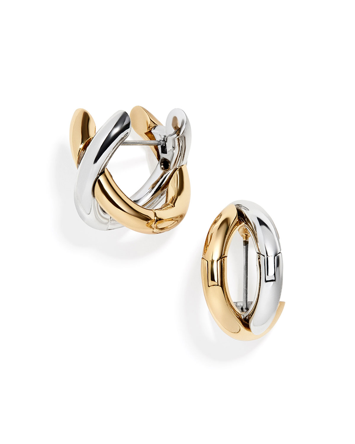 Gold and Silver X-Hoop Earrings
