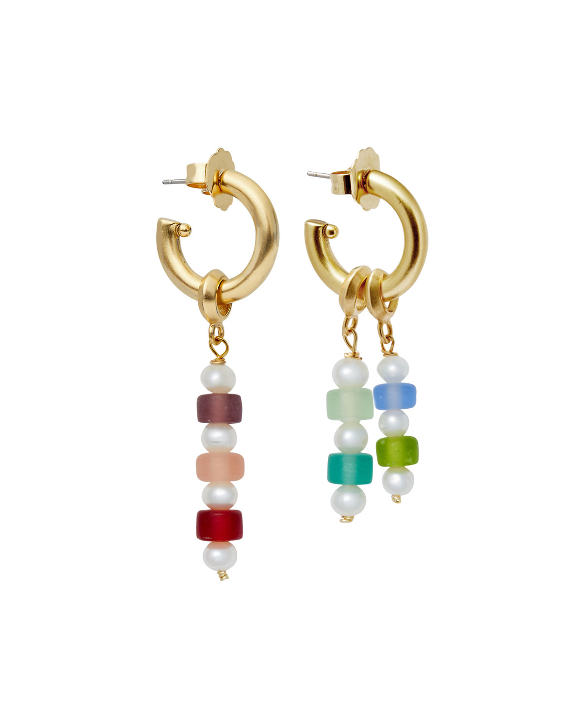 Frosted Bead and Hoop Earrings