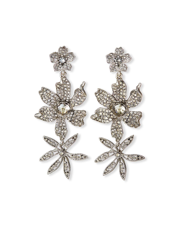 3-Flower Crystal Drop Earrings
