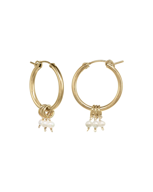 Noelle Hoop Earrings with Pearls