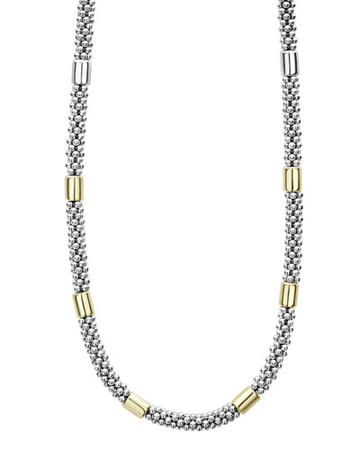 High Bar Caviar Necklace w/ 18k Gold, 18