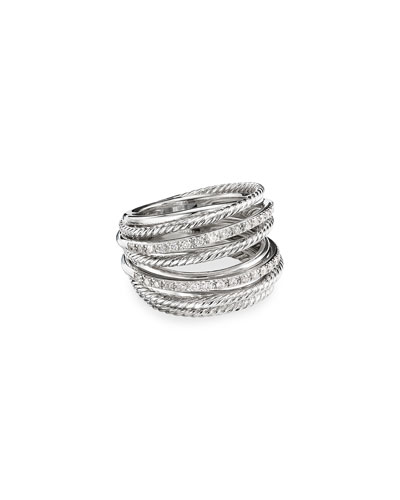 DY Crossover Wide Ring w/ Diamonds