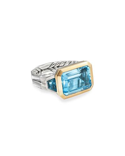 Novella 3-Stone Ring w/ 18k Gold & Topaz, Size 5-8
