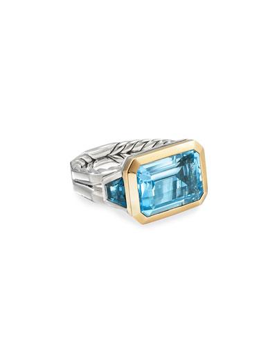 Novella 3-Stone Ring w/ 18k Gold & Topaz, Size 9