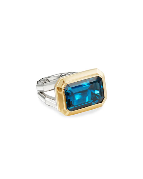 David Yurman Novella 16mm Stone Ring w/ 18k Gold & Topaz, Size 5-8