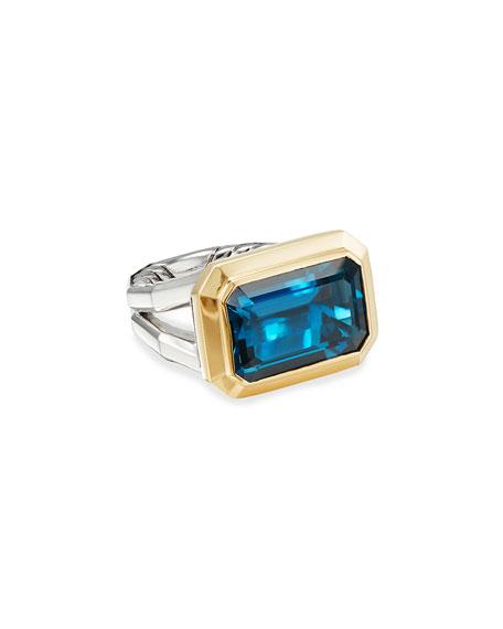 David Yurman Novella 16mm Stone Ring w/ 18k Gold & Topaz, Size 9