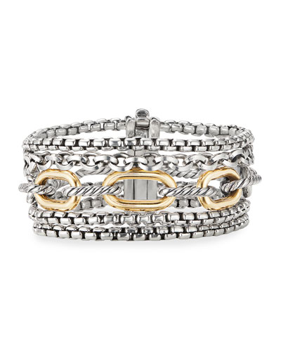Multi-Row Chain Bracelet w/ 18k Gold, Size L