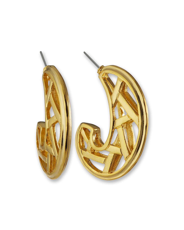 Open C-Shape Hoop Earrings