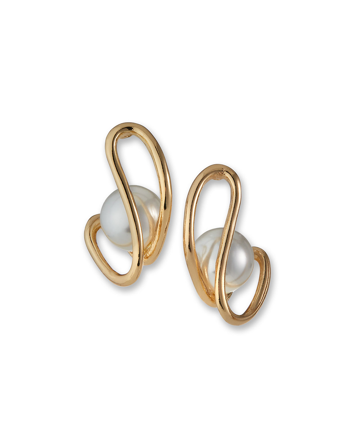 Open Double-Bar Earrings with Simulated Pearls