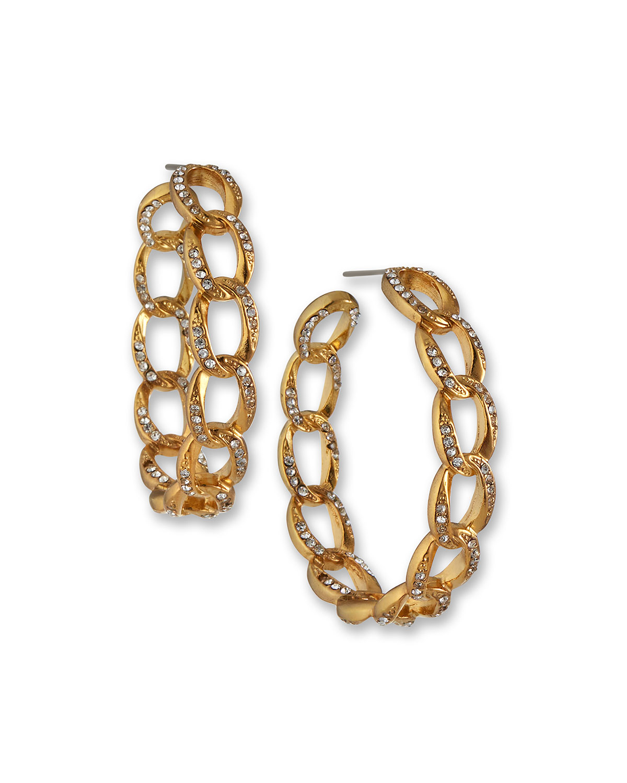 Crystal Link Hoop Earrings
