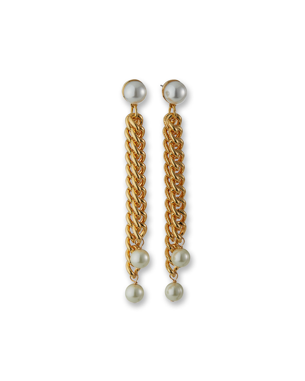 2-Row Chain Drop Earrings with Simulated Pearls