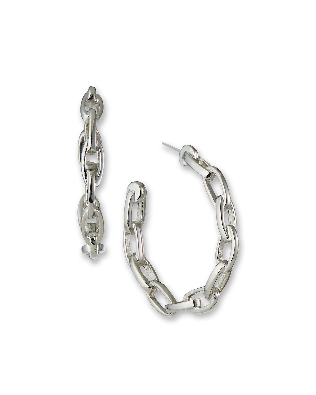 Polished Oval-Link Hoop Earrings