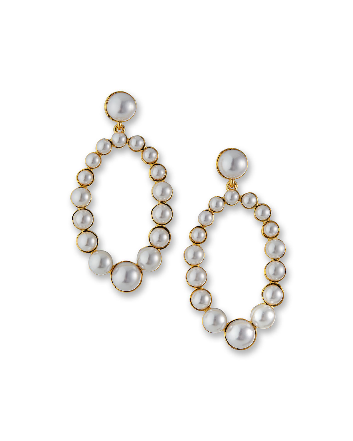 Graduated Oval Drop Earrings with Simulated Pearls
