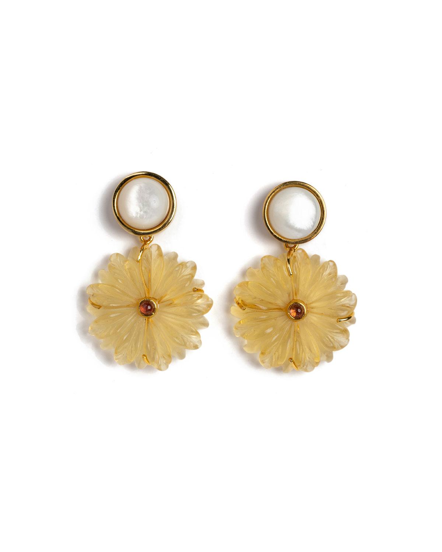Golden Eye Flower Earrings