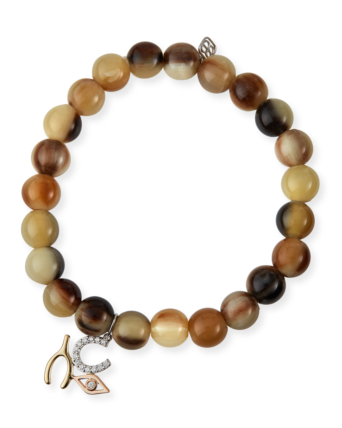 Sydney Evan TRI-TONE LUCK AND PROTECTION HORN STRETCH BRACELET