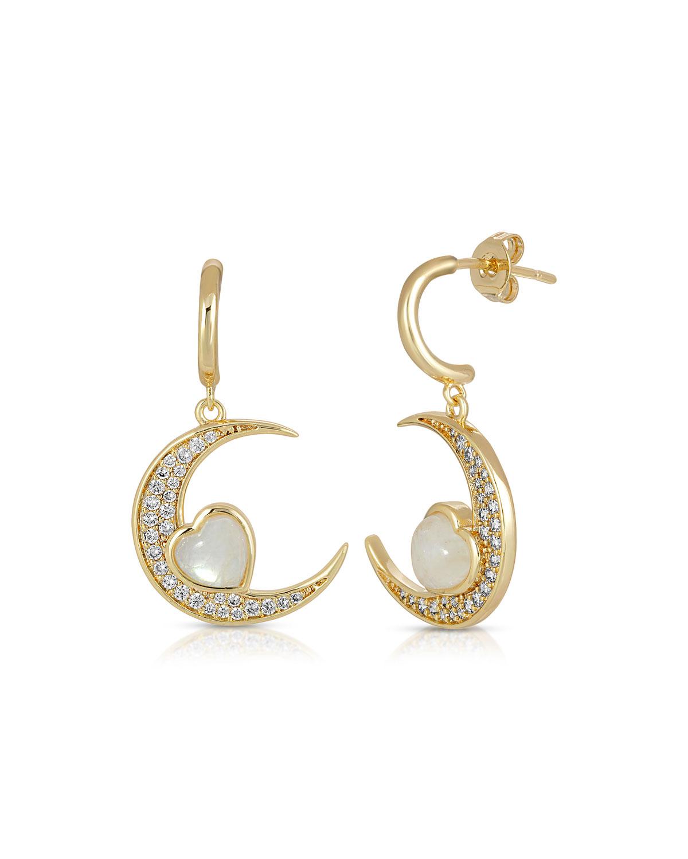 14k Love You To The Moon Huggie Earrings