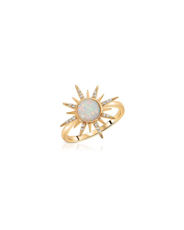 CZ Gemstone Starburst Ring