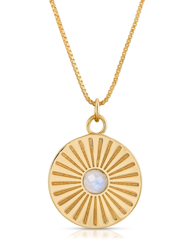 Mini Radiant Moonstone Charm Pendant Necklace