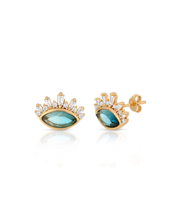 Blue Tourmaline Quartz Athena Stud Earrings