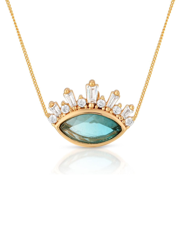 Athena Crown Blue Tourmaline Quartz Pendant Necklace