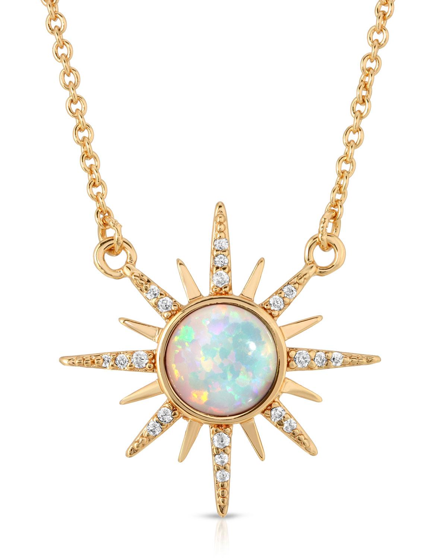 14k Plated Starburst Gemstone Necklace