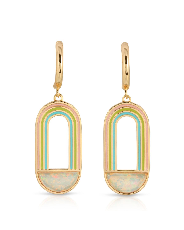 Rainbow Drop Huggie Earrings