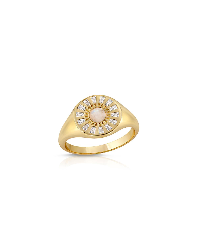 Radiant CZ Moonstone Signet Ring