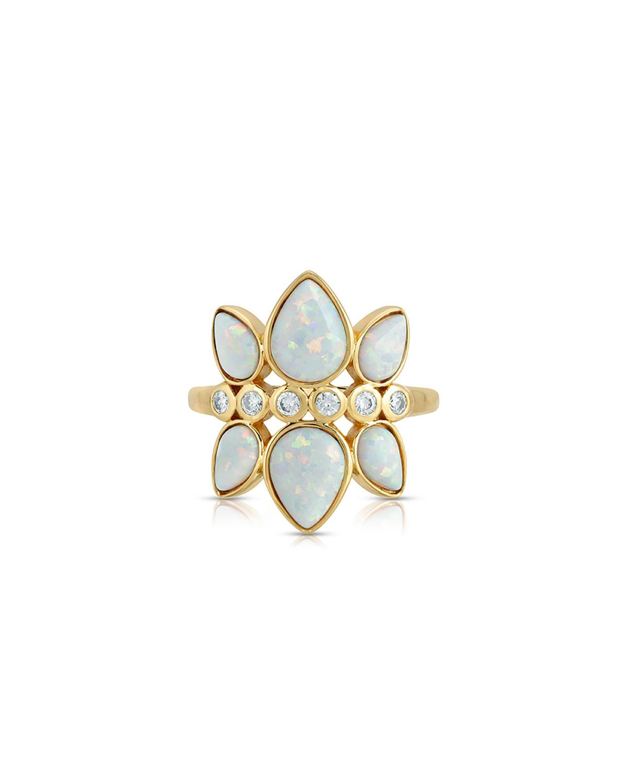 Bezel-Set CZ Stone Teardrop Opal Drop Ring