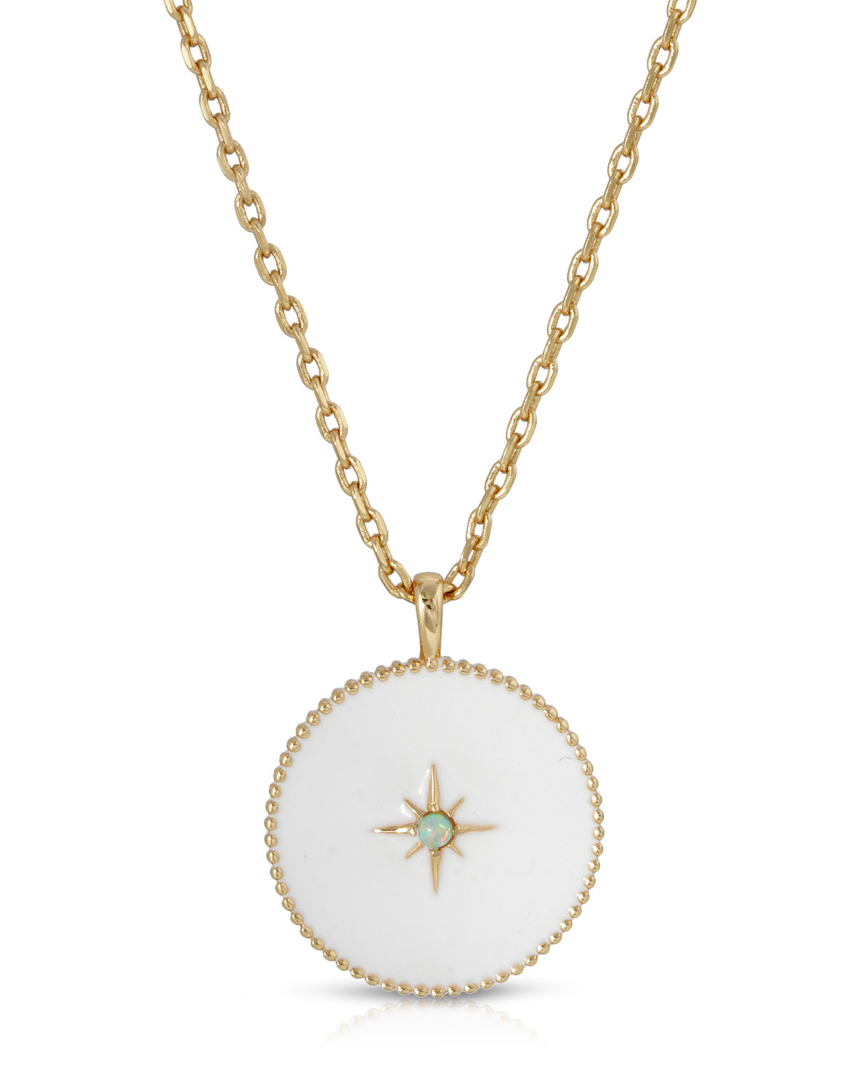 Guiding Light Enamel Pendant Necklace with Opal