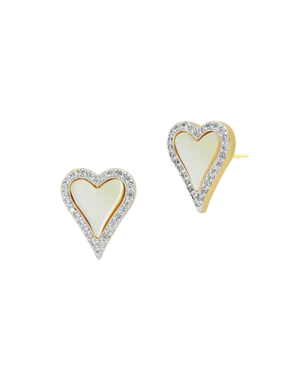 Mother-of-Pearl Heart Stud Earrings